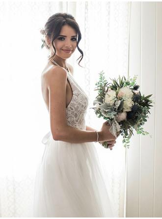 Halter A-Line/Princess Wedding Dresses Tulle Lace Sleeveless Sweep Train