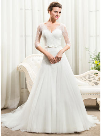 A-Line/Princess Sweetheart Cathedral Train Wedding Dresses With Bow(s)