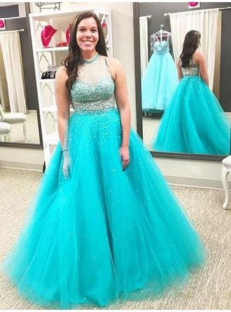 Ball-Gown High Neck Floor-Length Prom Dresses With Beading