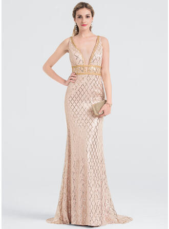 Sheath/Column V-neck Sweep Train Sequined Prom Dresses With Beading Sequins