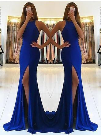 Sheath/Column Halter Sweep Train Prom Dresses With Ruffle
