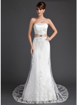 Gorgeous Strapless Trumpet/Mermaid Wedding Dresses Court Train Tulle Sleeveless