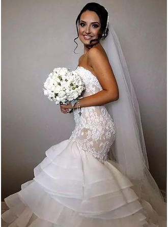 Trumpet/Mermaid Sweetheart Chapel Train Wedding Dresses With Cascading Ruffles