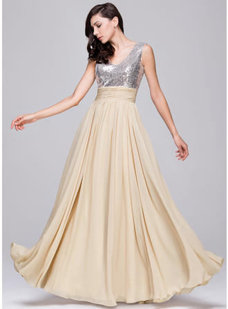 A-Line/Princess Chiffon Sequined Prom Dresses Ruffle V-neck Sleeveless Floor-Length