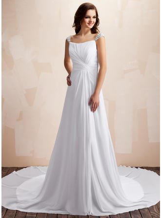 A-Line/Princess Sweetheart Chapel Train Wedding Dresses With Ruffle Beading
