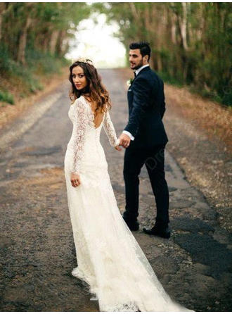 Sheath/Column Tulle Lace Long Sleeves V-neck Chapel Train Wedding Dresses