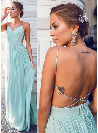 A-Line/Princess V-neck Floor-Length Prom Dresses With Ruffle