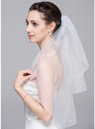Elbow Bridal Veils Tulle Two-tier With Pencil Edge 31.50 in (80cm) Wedding Veils