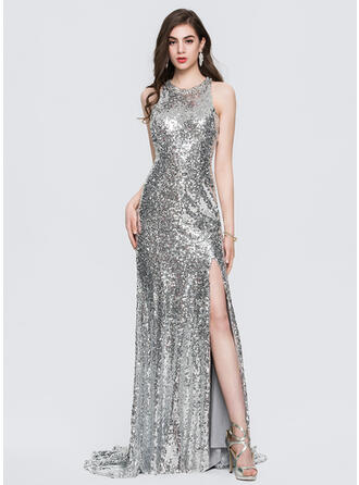 Trumpet/Mermaid Scoop Neck Sweep Train Sequined Prom Dresses With Beading Split Front