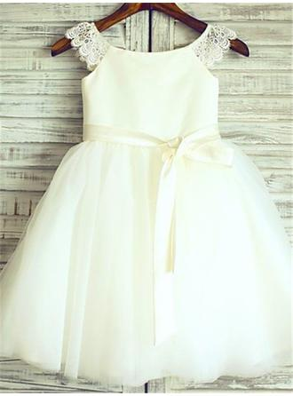 A-Line/Princess Scoop Neck Knee-length With Sash Satin/Tulle Flower Girl Dresses