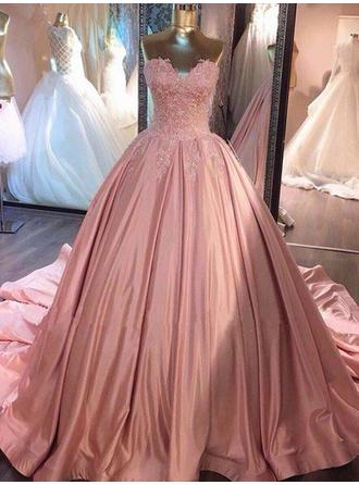 Ball-Gown Sweetheart Court Train Prom Dresses With Lace