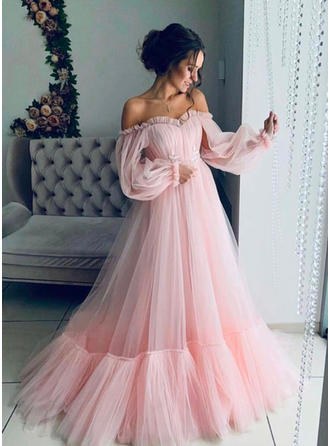 A-Line/Princess Off-the-Shoulder Sweep Train Prom Dresses With Ruffle