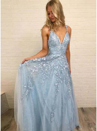 A-Line/Princess V-neck Floor-Length Prom Dresses With Appliques Lace