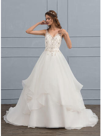 Ball-Gown V-neck Court Train Organza Wedding Dress With Beading Sequins
