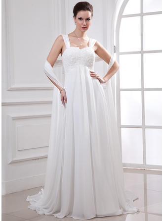 Empire Sweetheart Court Train Wedding Dresses With Lace Beading