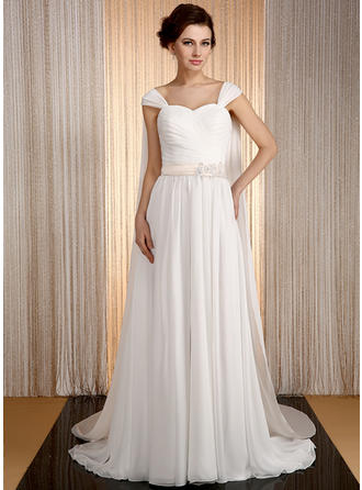 A-Line/Princess Sweetheart Watteau Train Wedding Dresses With Sash Beading Appliques Lace