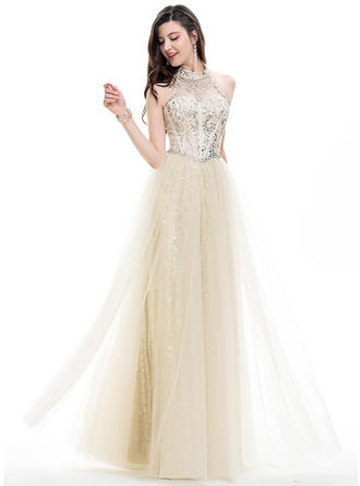 A-Line/Princess Halter Floor-Length Prom Dresses With Beading Sequins