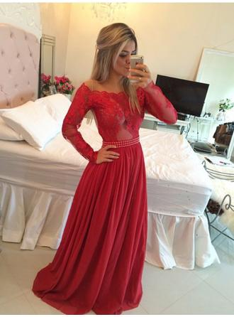 A-Line/Princess Off-the-Shoulder Sweep Train Chiffon Prom Dresses