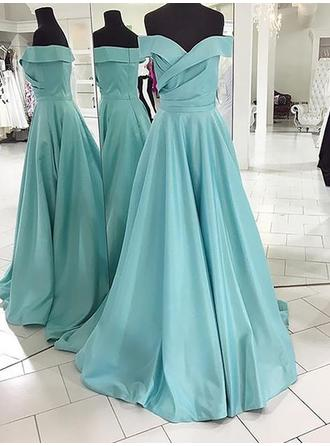 A-Line/Princess Satin Prom Dresses Off-the-Shoulder Sleeveless Sweep Train