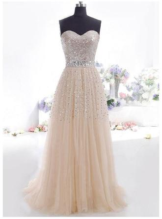A-Line/Princess Sweetheart Floor-Length Evening Dresses With Beading Sequins