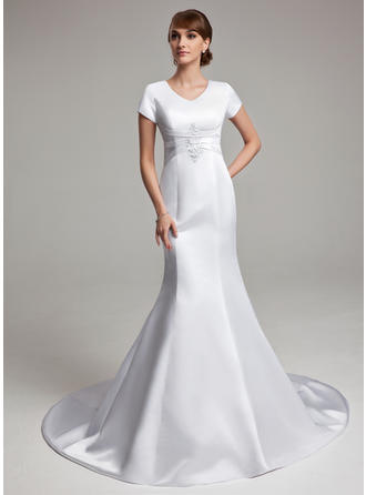Trumpet/Mermaid Sweetheart Chapel Train Wedding Dresses With Ruffle Appliques Lace