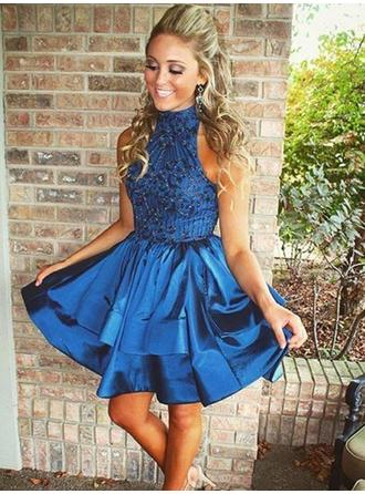 A-Line/Princess High Neck Short/Mini Satin Homecoming Dresses With Sequins
