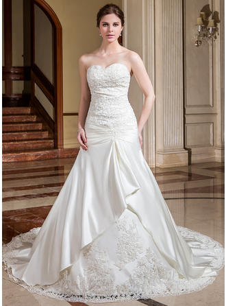 A-Line/Princess Sweetheart Cathedral Train Wedding Dresses With Ruffle Lace Beading Flower(s)
