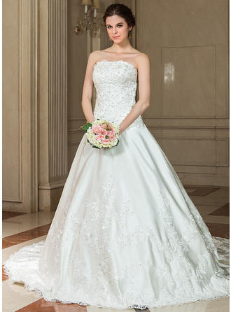 A-Line/Princess Sweetheart Chapel Train Wedding Dresses With Lace Beading Sequins