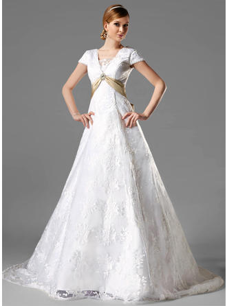 A-Line/Princess Square Chapel Train Wedding Dresses With Sash Crystal Brooch Bow(s)