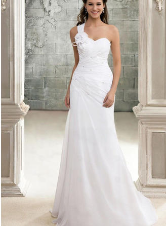 A-Line/Princess Chiffon Sleeveless One Shoulder Sweep Train Wedding Dresses