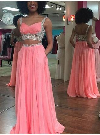 A-Line/Princess Sweetheart Floor-Length Prom Dresses With Lace