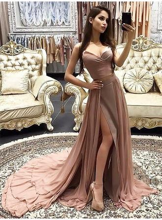 A-Line/Princess Sweetheart Court Train Prom Dresses With Cascading Ruffles