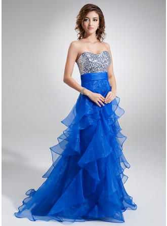 A-Line/Princess Sweetheart Sweep Train Prom Dresses With Cascading Ruffles