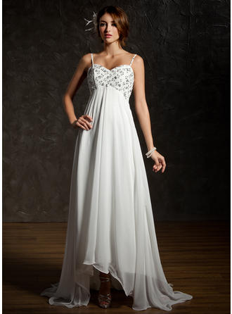 Empire Sweetheart Asymmetrical Wedding Dresses With Ruffle Lace Beading Sequins
