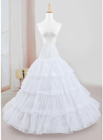 Petticoats Floor-length Tulle Netting/Polyester Full Gown Slip 4 Tiers Petticoats