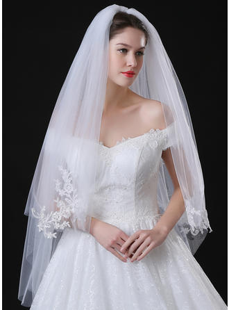 Fingertip Bridal Veils Tulle/Lace Two-tier Classic With Lace Applique Edge Wedding Veils