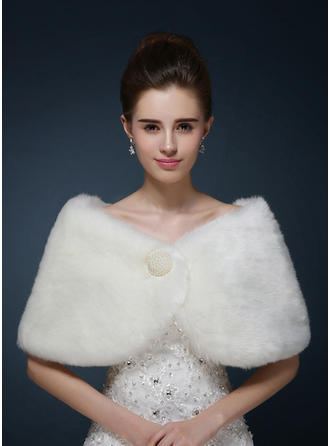Wrap Wedding Faux Fur With Beading Ivory Red Wraps