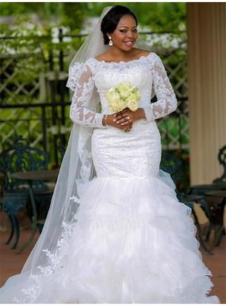 Trumpet/Mermaid Organza Long Sleeves Scoop Chapel Train Wedding Dresses