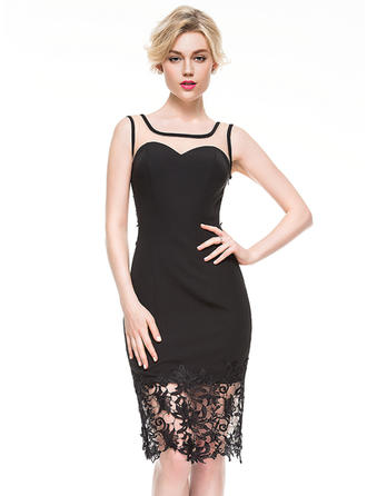Sheath/Column Square Neckline Knee-Length Jersey Cocktail Dress With Lace