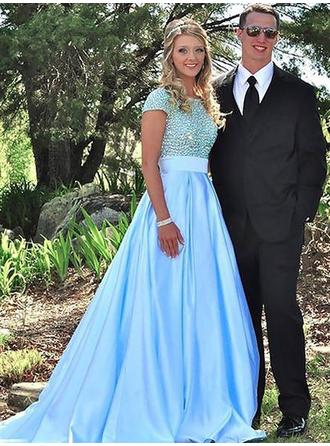 Ball-Gown Satin Prom Dresses Beading Scoop Neck Short Sleeves Sweep Train