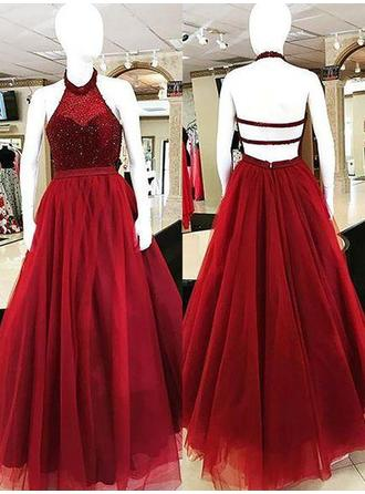 Ball-Gown Tulle Prom Dresses Beading Halter Sleeveless Floor-Length