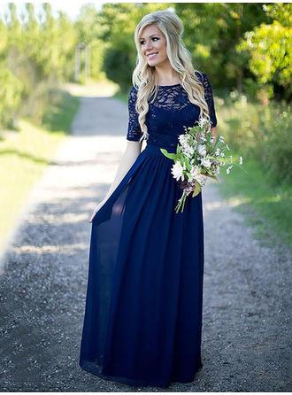 A-Line/Princess Chiffon Bridesmaid Dresses Ruffle Scoop Neck 1/2 Sleeves Floor-Length