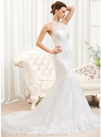Delicate Halter Trumpet/Mermaid Wedding Dresses Court Train Tulle Lace Sleeveless