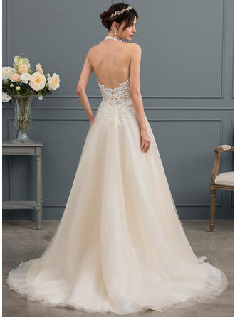 Ball-Gown/Princess Halter Court Train Tulle Wedding Dress With Beading Sequins