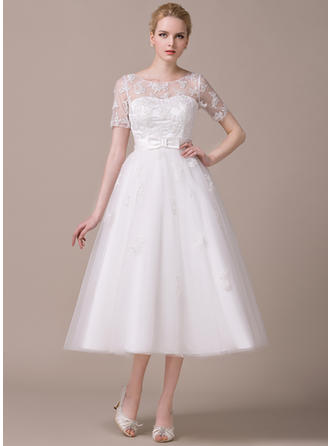 Scoop A-Line/Princess Wedding Dresses Tulle Appliques Lace Bow(s) Short Sleeves Tea-Length