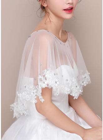 Wrap Wedding Lace Tulle Sleeveless With Lace Wraps