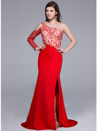 Trumpet/Mermaid Charmeuse Jersey Prom Dresses Beading Split Front One-Shoulder Long Sleeves Sweep Train