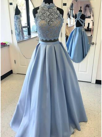 A-Line/Princess Satin Prom Dresses Beading Appliques Lace High Neck Sleeveless Floor-Length