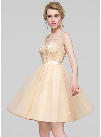 A-Line V-neck Knee-Length Tulle Bridesmaid Dress With Beading Sequins