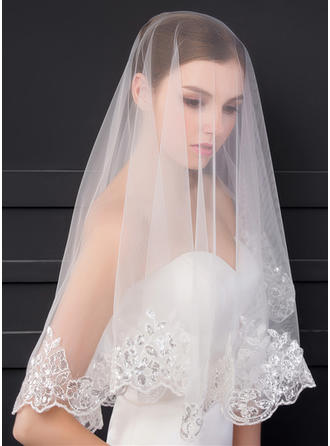 Elbow Bridal Veils One-tier Classic With Lace Applique Edge With Sequin/Lace Wedding Veils